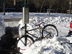 bike with snow